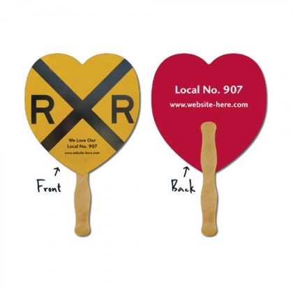 Hand Fan, Laminated - Heart Promotional Custom Imprinted With Logo