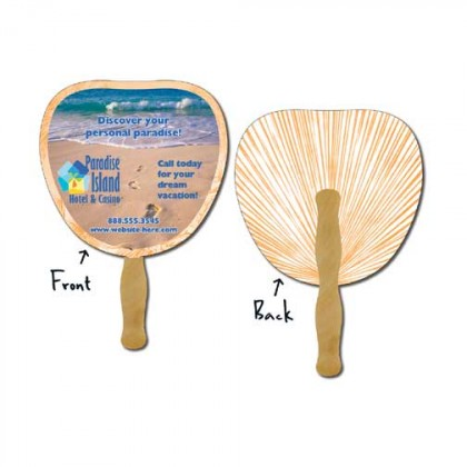 Hand Fan, Laminated - Palm Leaf Promotional Custom Imprinted With Logo
