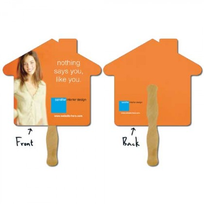 Hand Fan, Laminated - House Promotional Custom Imprinted With Logo
