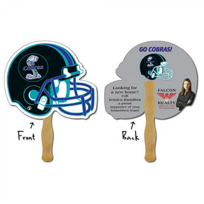 Hand Fan, Laminated - Football Helmet Promotional Custom Imprinted With Logo