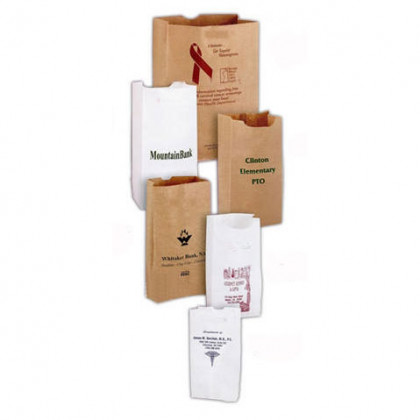 5 x 9 1/2 Grocery Bag - Natural Promotional Custom Imprinted With Logo