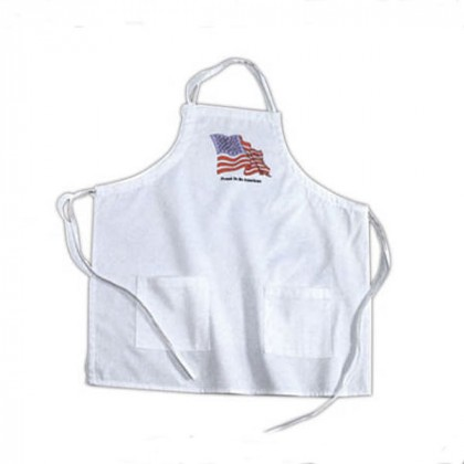 White Barbecue Apron Promotional Custom Imprinted With Logo