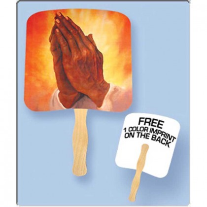 Religious Hand Fan - Praying Hands Promotional Custom Imprinted With Logo