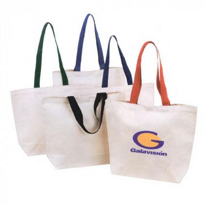 Cotton Canvas Color Handle Tote Logo