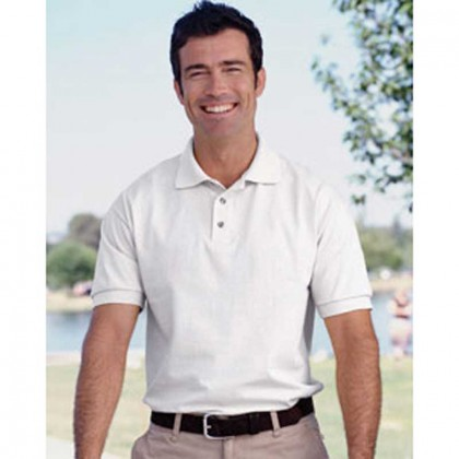 Jerzees Cotton Jersey Golf Shirt - White Promotional Custom Imprinted With Logo