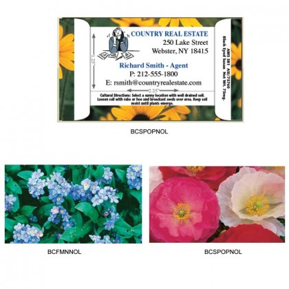 Business Card w/ Flower Seeds Promotional Custom Imprinted With Logo