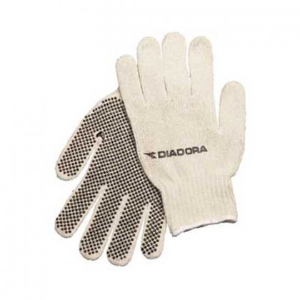 Cotton-poly blend glove -  dotted palms Promotional Custom Imprinted With Logo