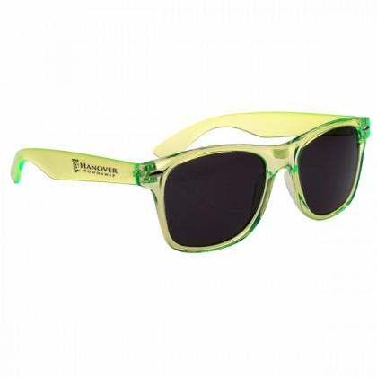 Custom Company Logo Sunglasses for Promotional Advertising - Translucent Lime