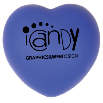 Reflex Blue Heart Shaped Stress Ball Promotional Custom Imprinted With Logo