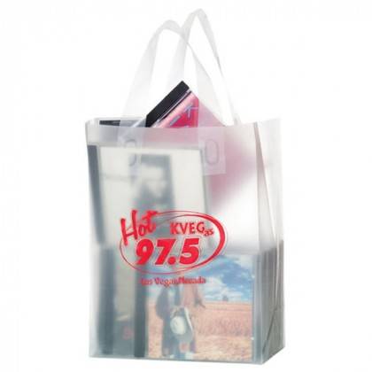 8 x 11 Clear Frosted Shopping Bag with Gusset - Foil Stamp
