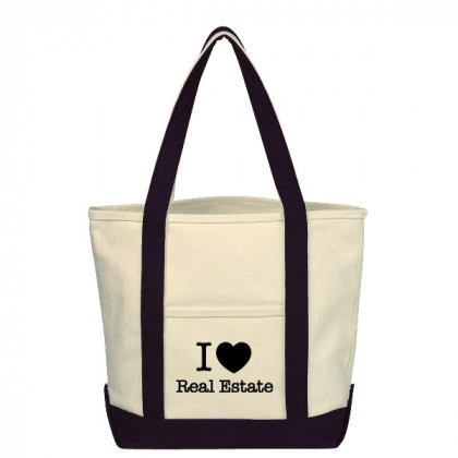 Natural with Black Small Heavy Cotton Canvas Boat Tote