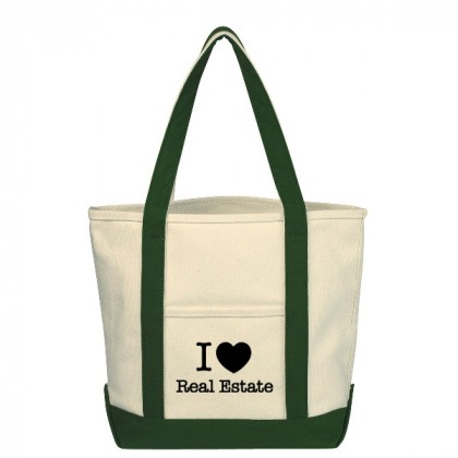 Natural with Forest Green Small Heavy Cotton Canvas Boat Tote