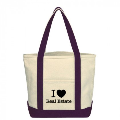 Natural with Purple Small Heavy Cotton Canvas Boat Tote