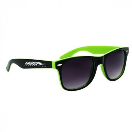 Two-Tone Malibu Sunglasses- Black and Green