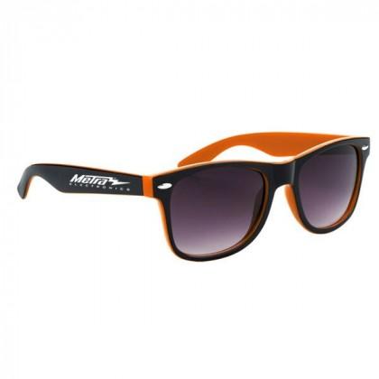Two-Tone Malibu Sunglasses- Black and Orange
