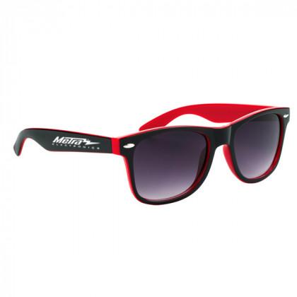 Two-Tone Malibu Sunglasses- Black and Red