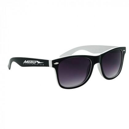 Two-Tone Malibu Sunglasses- White and Black