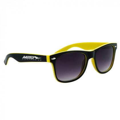 Two-Tone Malibu Sunglasses- Black and Yellow