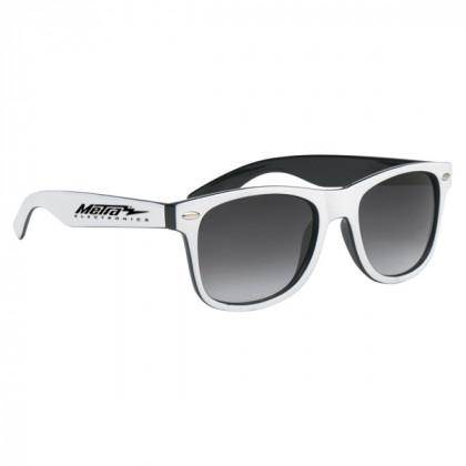 Two-Tone Malibu Sunglasses- Black and White