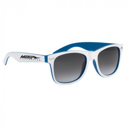 Two-Tone Malibu Sunglasses- Blue and White