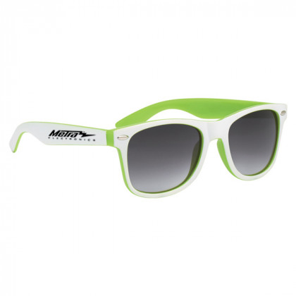 Two-Tone Malibu Sunglasses- Lime and White