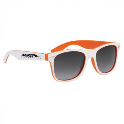 Two-Tone Malibu Sunglasses- Orange and White