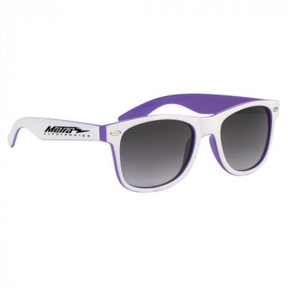 Two-Tone Malibu Sunglasses- Purple and White