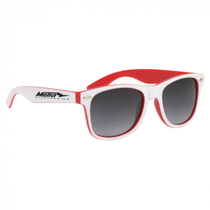 Two-Tone Malibu Sunglasses- Red and White