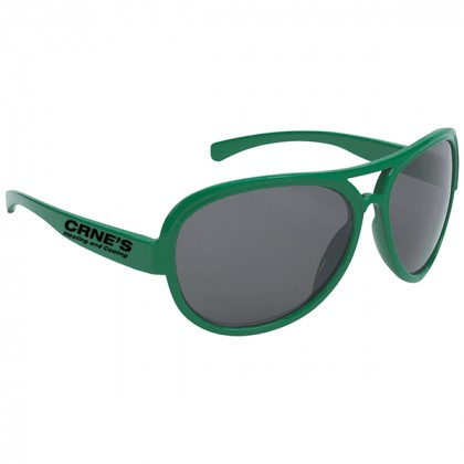 Navigator Style Promotional Sunglasses with Imprinted Logo Kelly Green