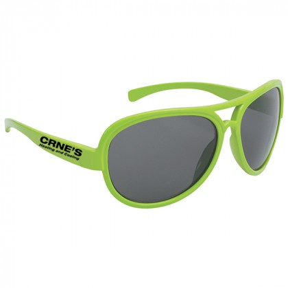Navigator Style Promotional Sunglasses with Imprinted Logo Lime Green