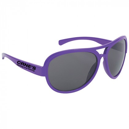 Navigator Style Promotional Sunglasses with Imprinted Logo Purple