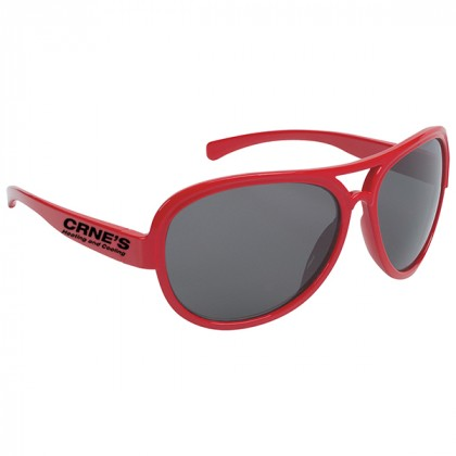 Navigator Style Promotional Sunglasses with Imprinted Logo Red