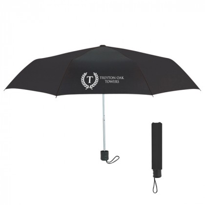 Telescopic Budget Custom Promotional Umbrella-42 Inch - Black