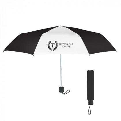 Telescopic Budget Custom Promotional Umbrella-42 Inch - Black and White