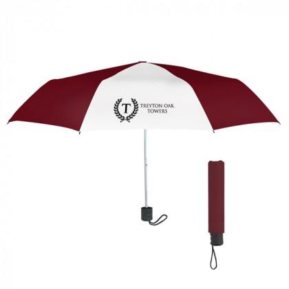 Telescopic Budget Custom Promotional Umbrella-42 Inch - Maroon with White