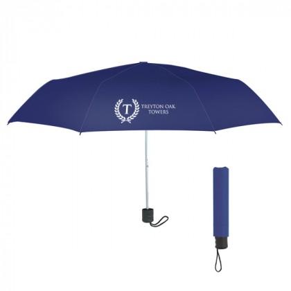Telescopic Budget Custom Promotional Umbrella-42 Inch - Navy Blue