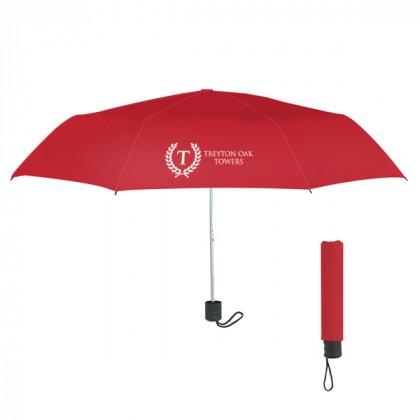 Telescopic Budget Custom Promotional Umbrella-42 Inch - Red
