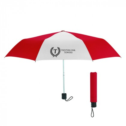Telescopic Budget Custom Promotional Umbrella-42 Inch - Red with White
