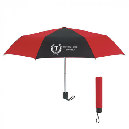 Telescopic Budget Custom Promotional Umbrella-42 Inch - Red with Black