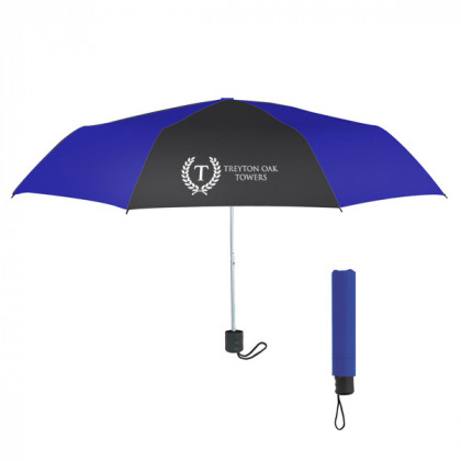 Telescopic Budget Custom Promotional Umbrella-42 Inch - Royal Blue with Black