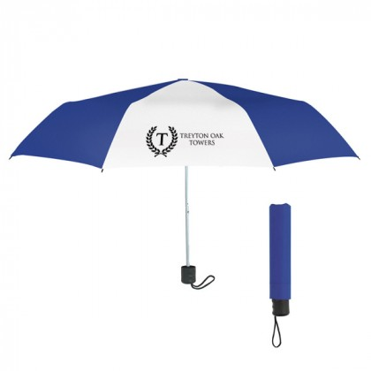 Telescopic Budget Custom Promotional Umbrella-42 Inch - Royal with White