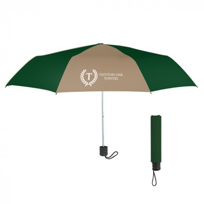 Telescopic Budget Custom Promotional Umbrella-42 Inch - Tan with Forest Green
