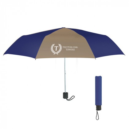 Telescopic Budget Custom Promotional Umbrella-42 Inch - Tan with Navy
