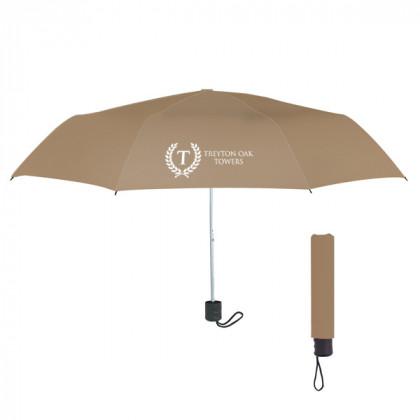 Telescopic Budget Custom Promotional Umbrella-42 Inch -  Tan