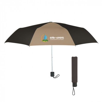 Telescopic Budget Custom Promotional Umbrella-42 Inch - Tan with Black
