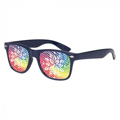 Retro Custom Promotional Sunglasses with Logo Lenses-Branded Giveaways Navy