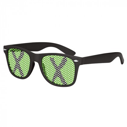 Retro Custom Promotional Sunglasses with Logo Lenses-Branded Giveaways Black