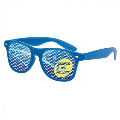 Retro Custom Promotional Sunglasses with Logo Lenses-Branded Giveaways Blue
