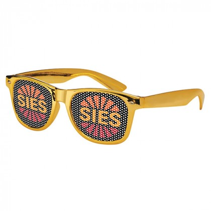 Retro Custom Promotional Sunglasses with Logo Lenses-Branded Giveaways Gold