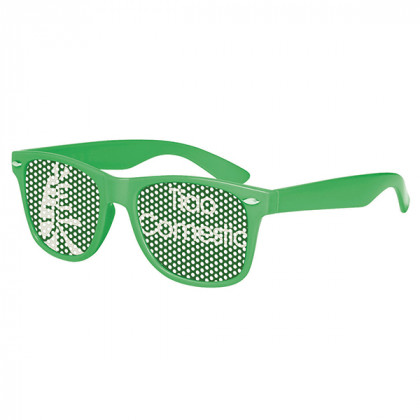 Retro Custom Promotional Sunglasses with Logo Lenses-Branded Giveaways Green